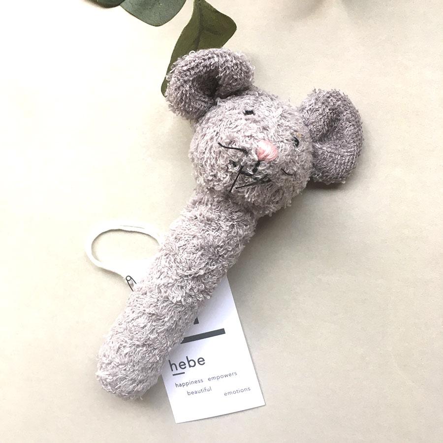 [60%OFF]ラトビアから HEBE ヘベ Mousy soft rattle オーガニックコットン 約16cm マウス ねずみのラトル