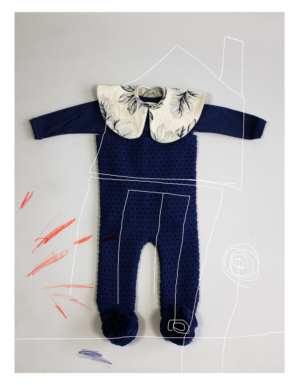 ●WOLF & RITA ウルフ&リタ 日本限定発売 EMANUEL -Feet Knit Leg 脚付きパンツ BLUE 6-12M
