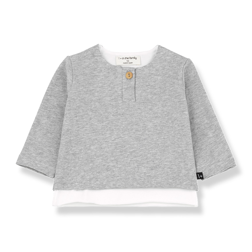 ● From spain 1+in the family ANTON ong sleeve t-shirt GREY -/70-80 organic cotton
