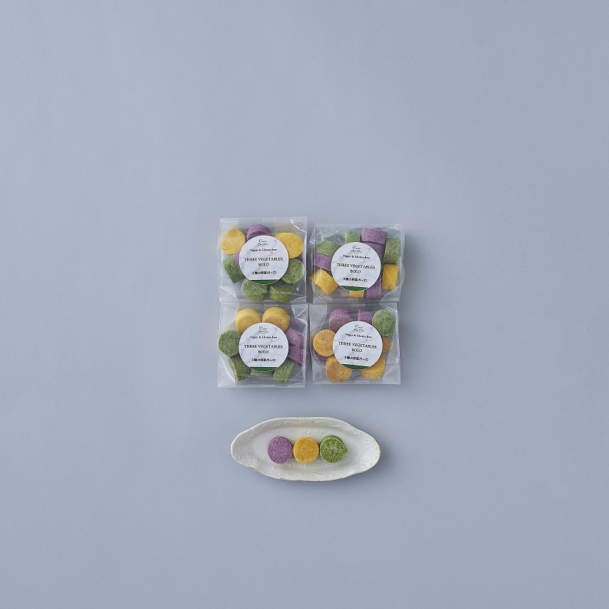 【お子様のおやつに】かぼちゃ&紫芋&ほうれん草のボーロ(4袋)※ 卵・バター・乳・小麦粉・白砂糖不使用