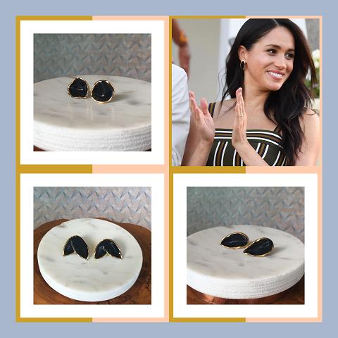 Nina Bosch 陶器イヤリング フローラルリーフ (ブラック)