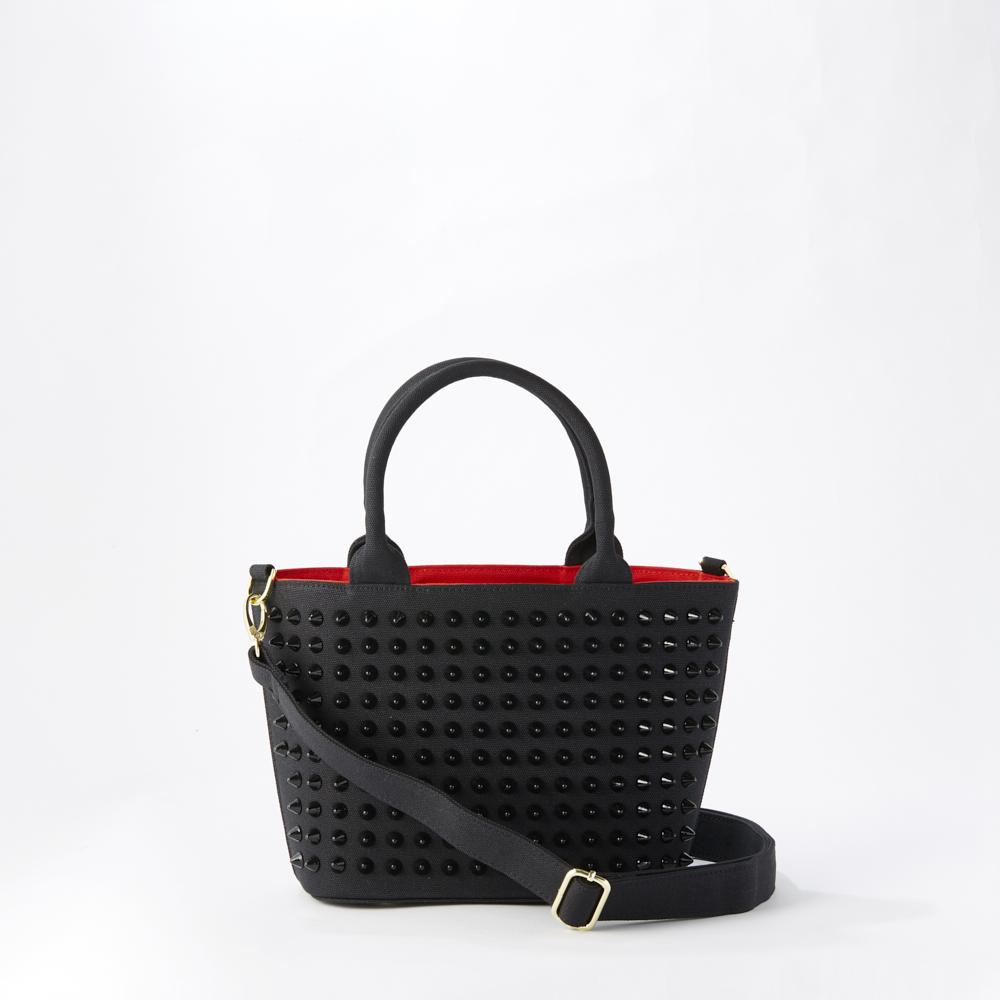 『スタンダード モデル』 スタッズトートバッグ 【Sサイズ】 BLACK×BLACK とげとげスタッズ