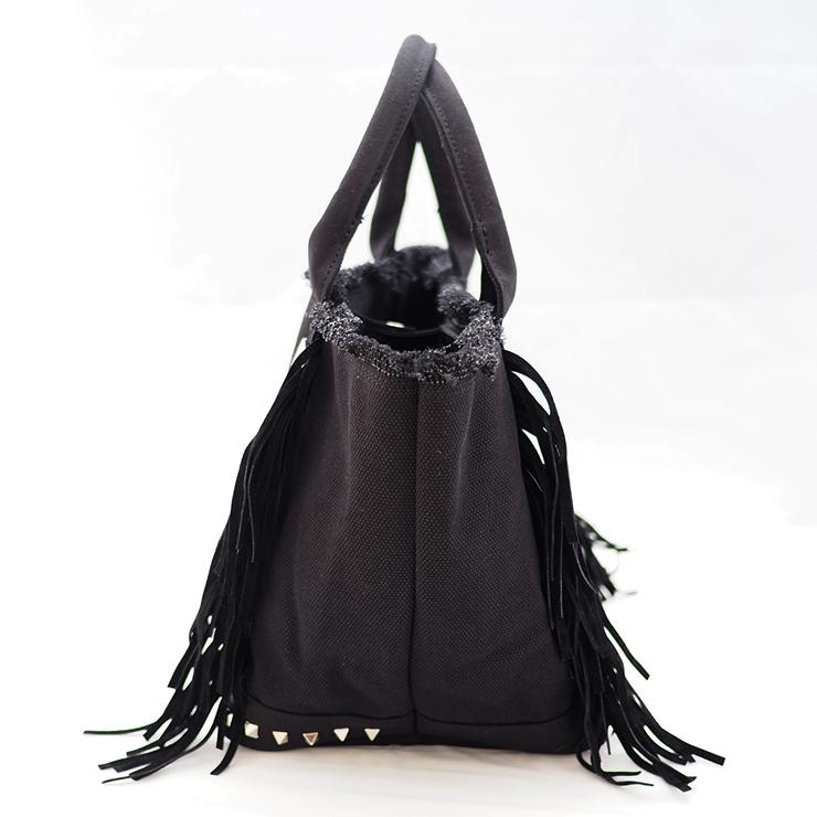 フリンジスタッズトートバッグ【Mサイズ】 BLACK×SILVERスタッズ