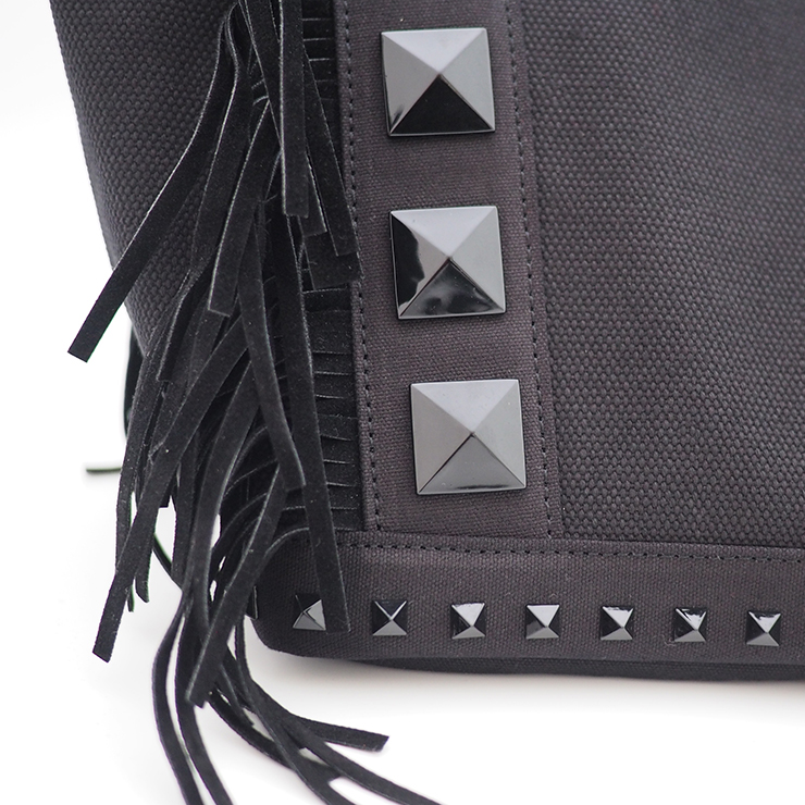 フリンジスタッズトートバッグ【Sサイズ】 BLACK×BLACKスタッズ ショルダーストラップ付き