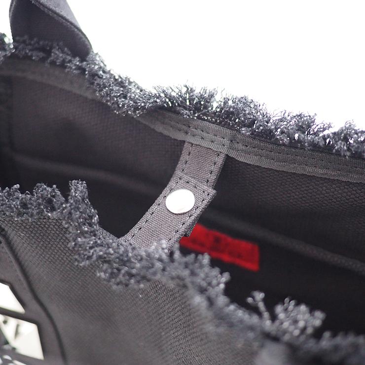 フリンジスタッズトートバッグ【Sサイズ】 BLACK×SILVERスタッズ ショルダーストラップ付き