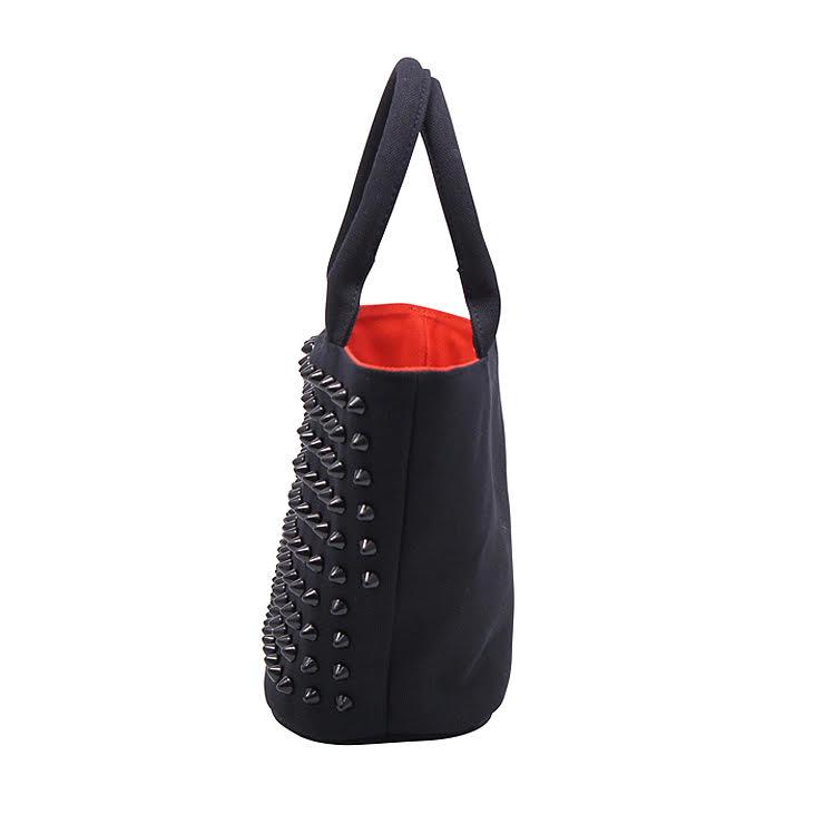 『ライトウェイト モデル』 スタッズトートバッグ 【Sサイズ】 BLACK×BLACK とげとげスタッズ
