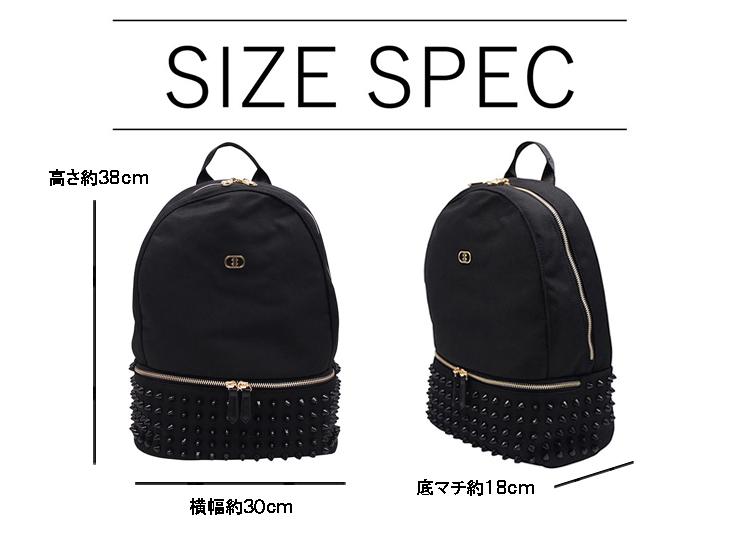 『スタンダード モデル』 スタッズバックパック 【Mサイズ】 BLACK×BLACK とげとげスタッズ