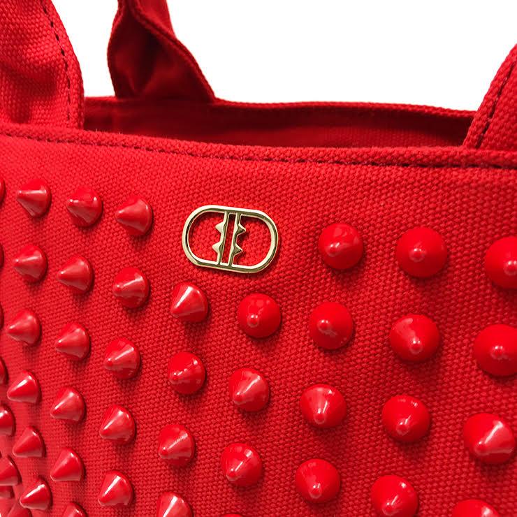『ライトウェイト モデル』 スタッズトートバッグ 【Sサイズ】 RED×RED とげとげスタッズ