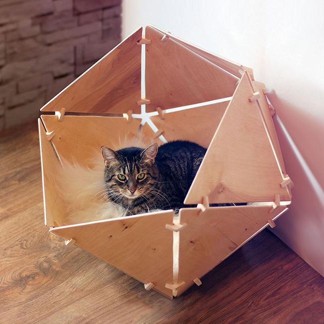Geobed-catissa バーチウッド多面体ペットベッド・ハウス