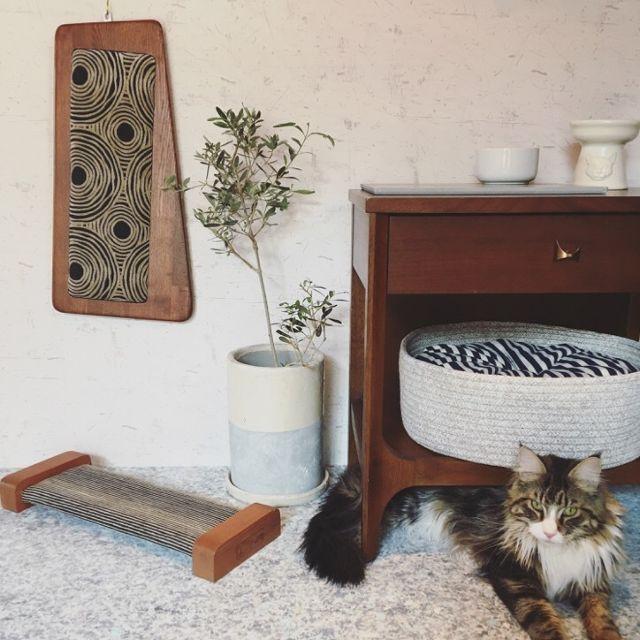 【ORIGINAL Cat Scratcher-Board Midcentury】ミッドセンチュリーモダン ハンドメイド爪とぎボード(受注生産)