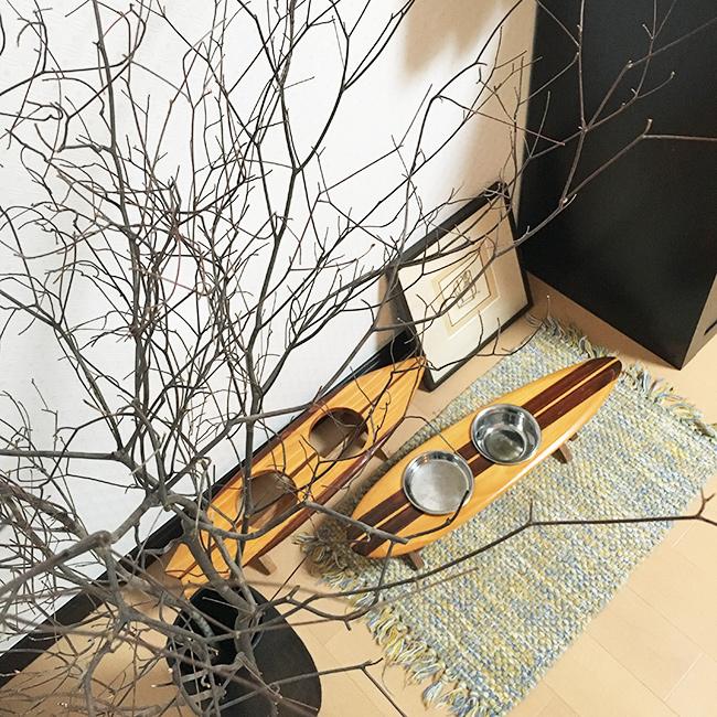 【ハンドメイド / 木製】FOOD STAND #006 / ペット用フードスタンド サーフボードデザイン(made in Japan) 受注生産