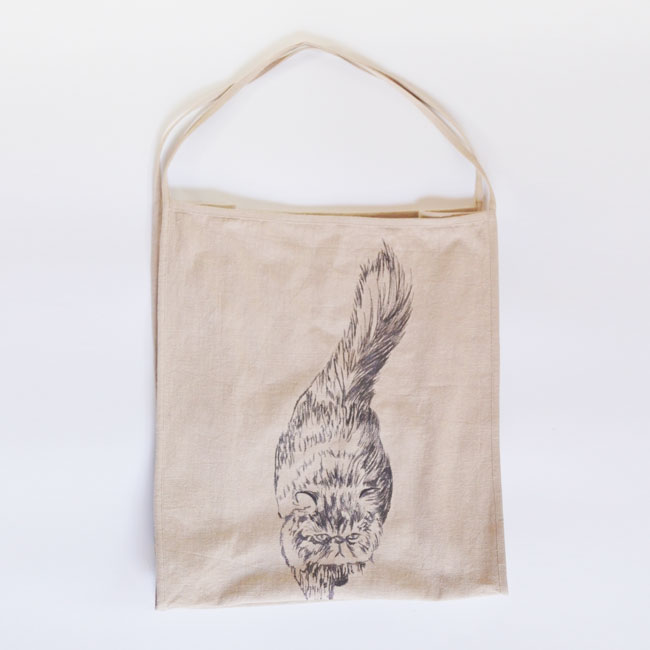 【ORIGINAL】Furbaby embroidery Ramie-Tote/猫刺繍ラミートートバッグ