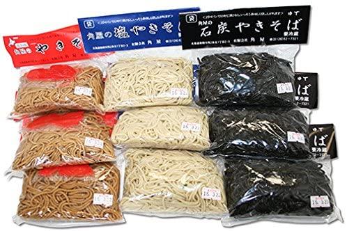 美唄市角屋の 焼きそば3種類がセットに! 袋入り焼きそばセット(3種×3袋) 計9袋