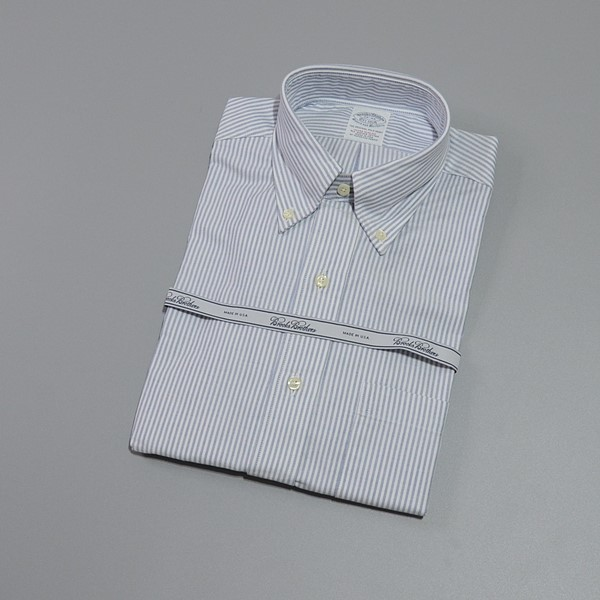 BROOKS BROTHERS / ブルックスブラザーズ / USA オックスフォード B.Dシャツ EXTRA SLIM 15-32 / ホワイト×ブルー