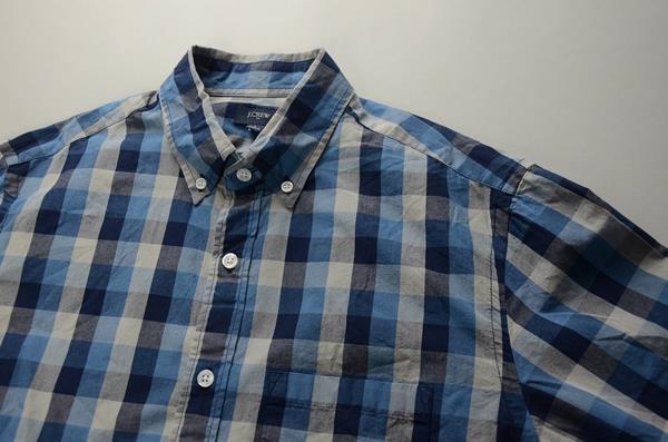 J.CREW / ジェイクルー / NEWウォッシュドボタンダウンシャツ / ネイビーブルーグレーラージギンガム