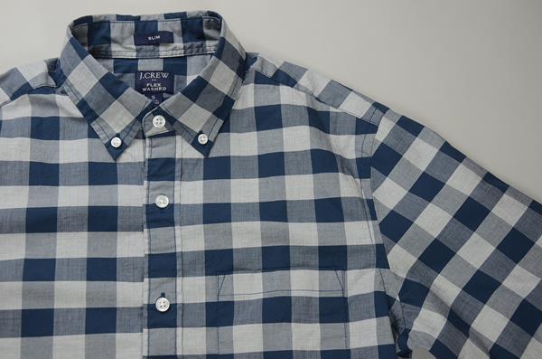 """【CLEARANCE SALE】J.CREW / ジェイクルー / FLEX ボタンダウンシャツ""""SLIM FIT"""" / ネイビー×グレー ラージギンガム"""