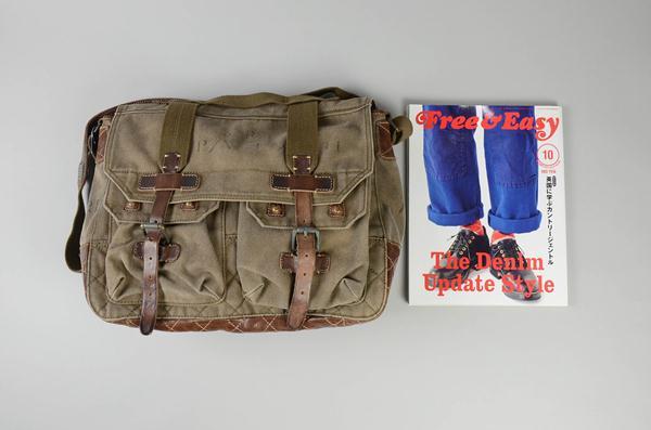 Polo Ralph Lauren / ポロラルフローレン / キャンバス&レザーメッセンジャーバッグ / カーキ×ブラウン