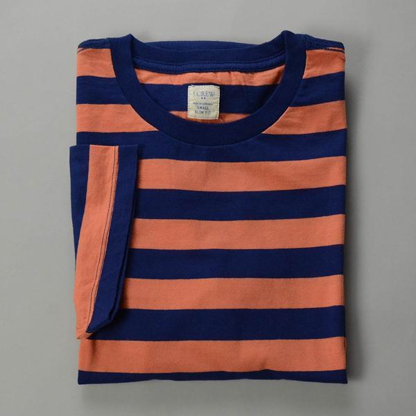 """J.CREW / ジェイクルー / ストライプブロークンインコットンTシャツ """"SLIM FIT""""/ インディゴ×オレンジ"""