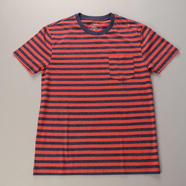 """【AUTUMN SALE】J.CREW / ジェイクルー / ヘザーストライプポケットTシャツ """"SLIM FIT"""" / ヘザーレッド×ヘザーネイビーストライプ"""