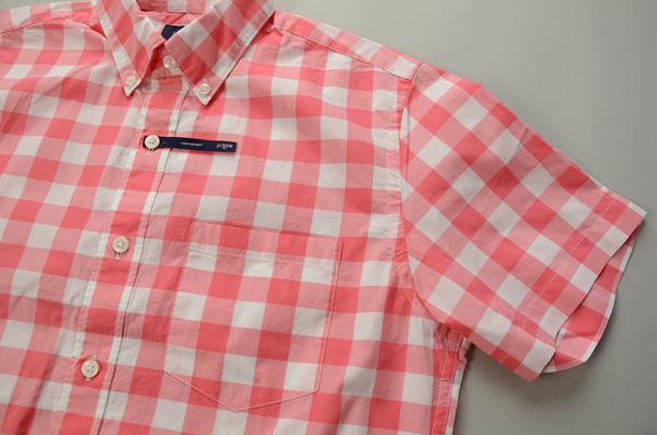 【CLEARANCE SALE】J.CREW / ジェイクルー / NEWライトウエイトコットンSS B.Dシャツ / ポゾリピンク×ホワイト ラージギンガム