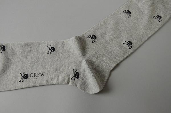 J.CREW / ジェイクルー / スカルプリントソックス / ヘザーグレー×ブラック