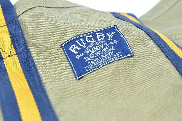 Rugby Ralph Lauren / Canvas & Leather Stripe Tote / Khaki ラグビー ラルフローレン / キャンバス&レザーストライプトート / カーキ