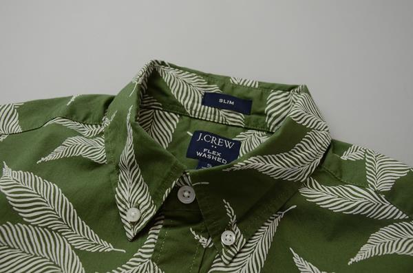 """【NEW YEAR SALE】J.CREW / ジェイクルー / FLEXグラフィックSSシャツ""""SLIMFIT"""" / ビッグリーフモス"""