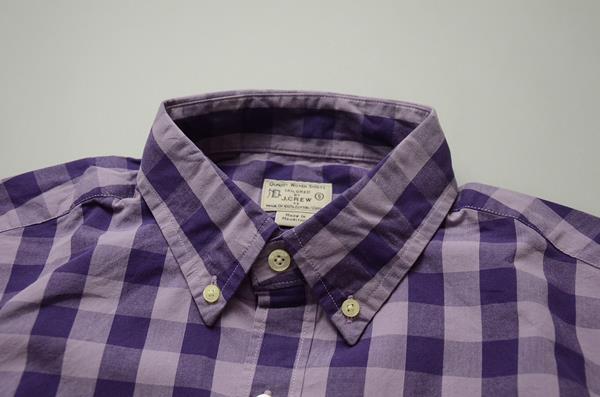 J.CREW / ジェイクルー / ウォッシュドボタンダウンシャツ / プラム×パープル ラージギンガム