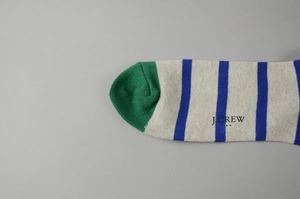 J.CREW / ジェイクルー / チップドストライプソックス / グレー×ブルー×グリーン