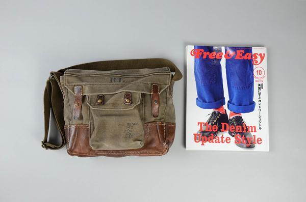 【FINAL SUMMER SALE】Polo Ralph Lauren / ポロラルフローレン / キャンバス&レザーショルダーバッグ / カーキ×ブラウン
