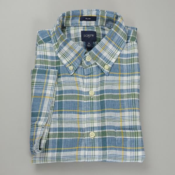 "J.CREW / ジェイクルー / NEW リネンプラッドSSシャツ""SLIM FIT"" / マルチカラープラッド"