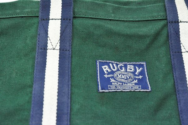 Rugby Ralph Lauren / Canvas & Leather Stripe Tote / Green ラグビー ラルフローレン / キャンバス&レザーストライプトート / グリーン