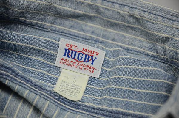 Rugby Ralph Lauren,ラグビー ラルフローレン / ビンテージウォッシュドストライプシャンブレー ワークシャツ / ビンテージブルー