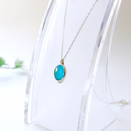 Hi-Bi 天然トルコ×水晶 ダブレット ネックレス