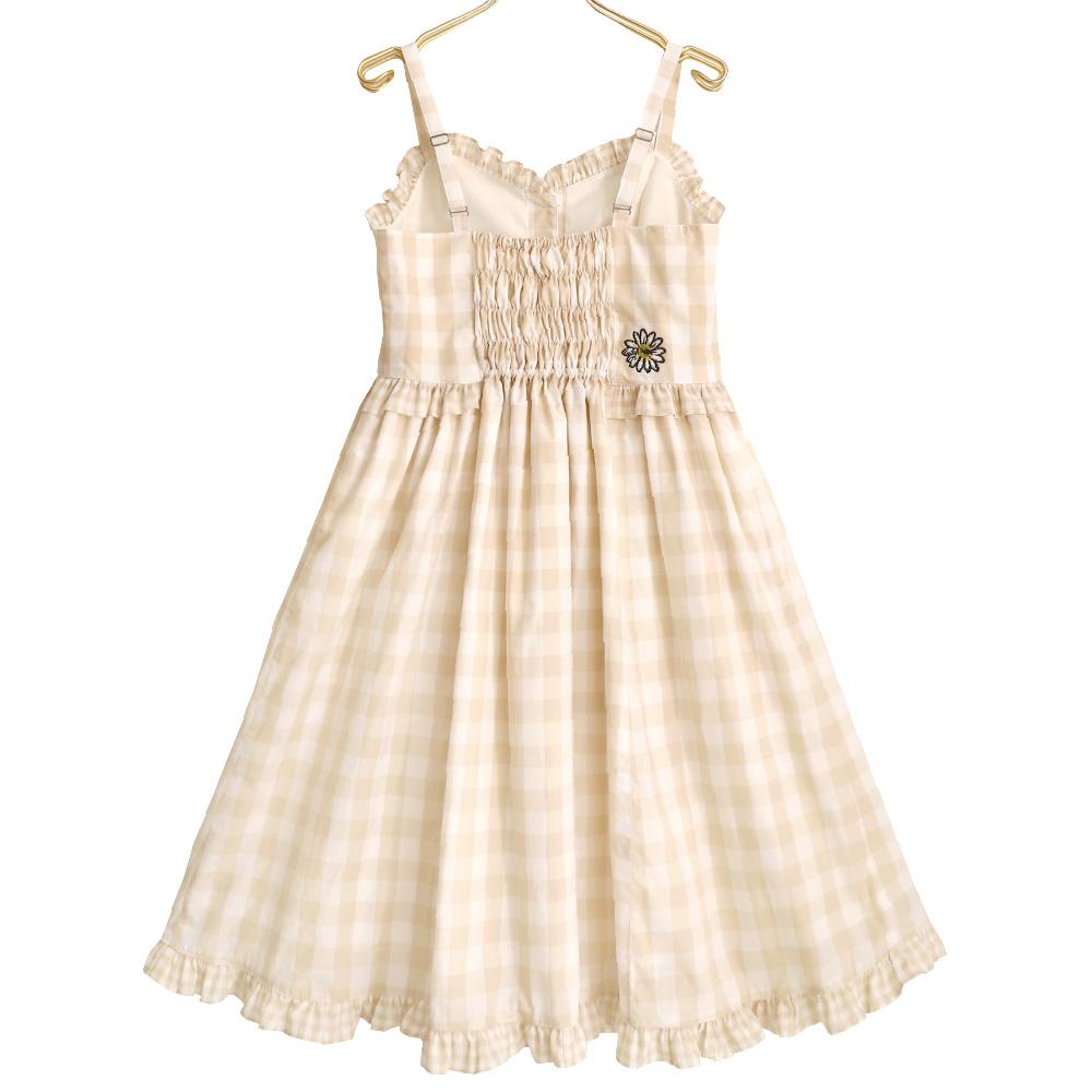 ツインギンガムキャミソールワンピース (Twin gingham sleeveless dress)