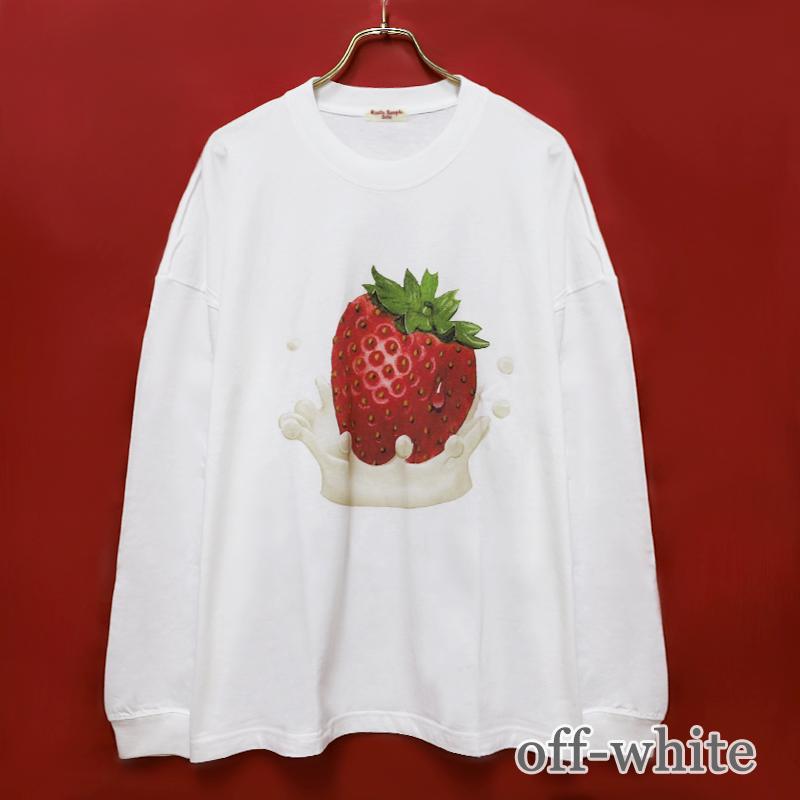 Creamy Strawberry Long sleeve BIG Tシャツ (Creamy Strawberry Long sleeve BIG T-shirt)