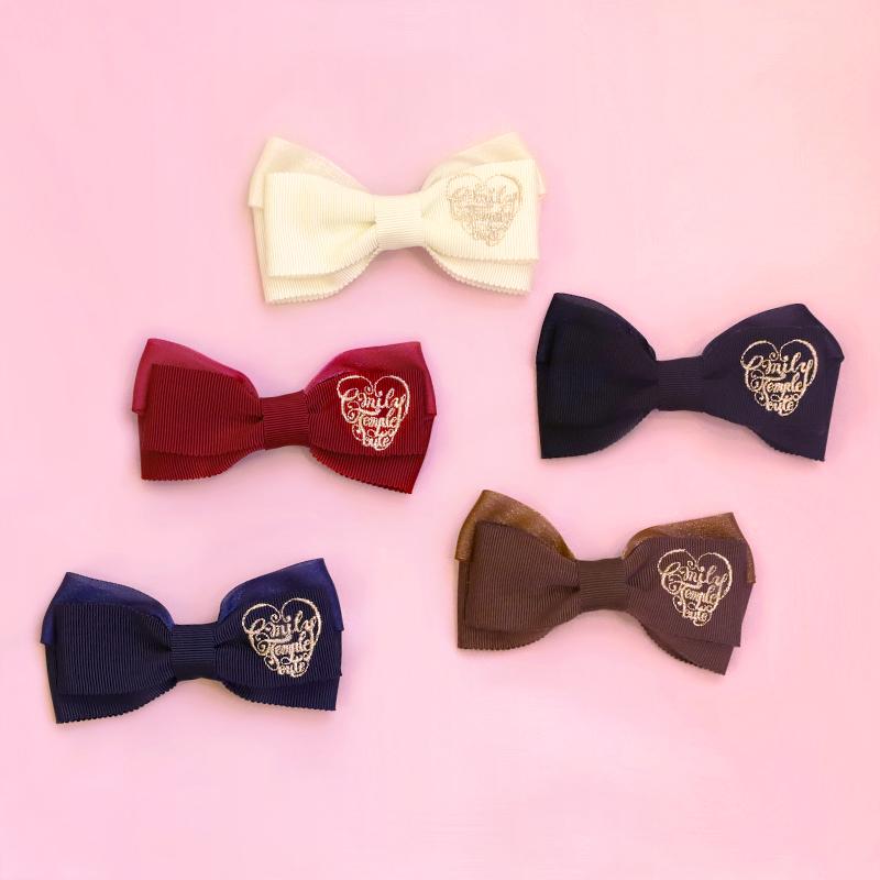 ロゴ刺繍リボンクリップ (Logo embroidered ribbon hair accessory)