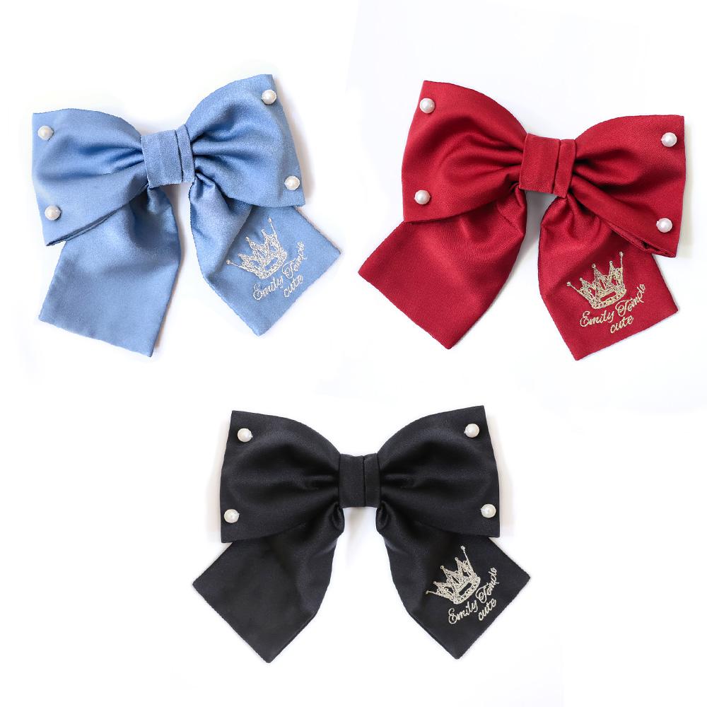 パールリボンバレッタ(pearl ribbon hair accessory)