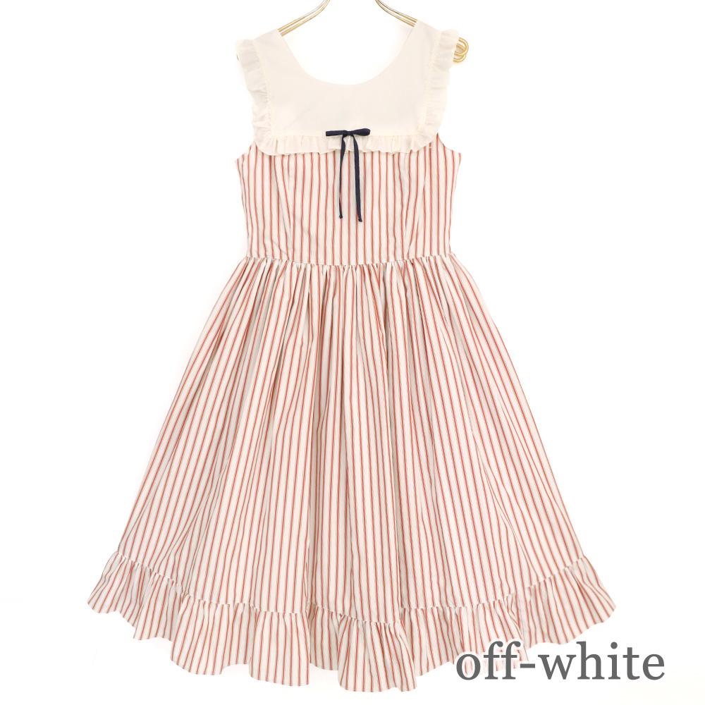 ストライプフリルノースリーブワンピース  (Stripe frill sleeveless one piece)