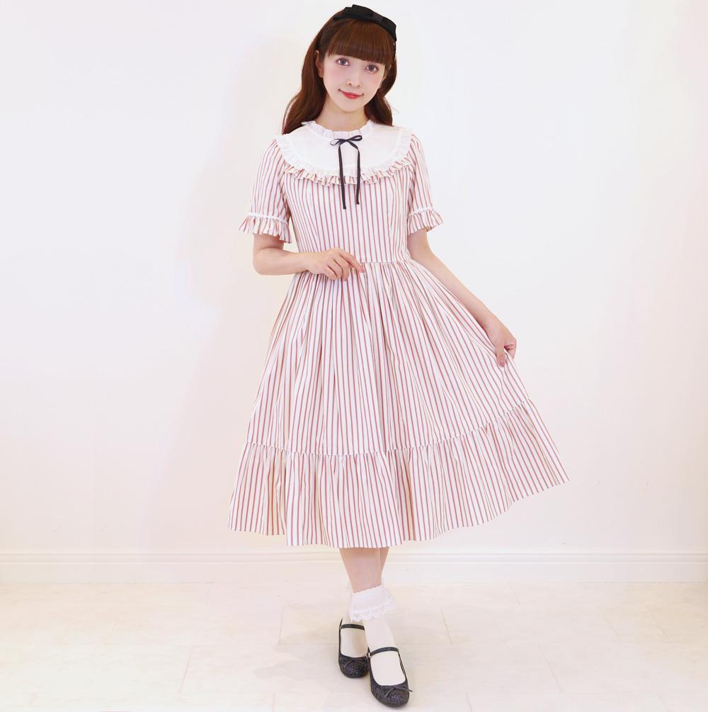 ストライプフリルワンピース(Stripe frill dress)