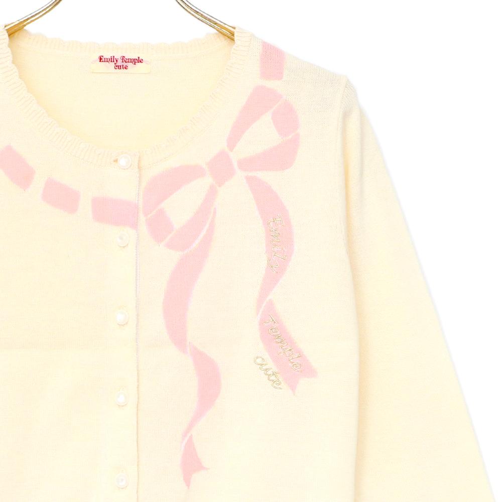 リボン柄ロゴニットカーディガン(ribbon logoknitcardigan)