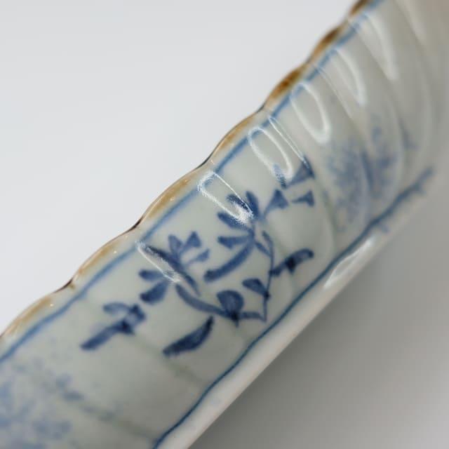 染付吹墨 24.5cm 舟菊型 前菜皿
