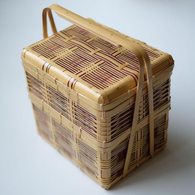 竹製 ピクニックバスケット (染竹入) 二段