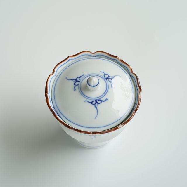 波佐見焼 渕瓔珞(青) 桔梗渕杵型小吸物