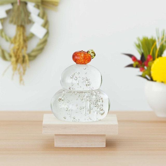 日本製 手作りガラス 橙色 鏡餅 福重ね  (箱入)