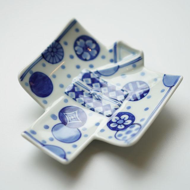 有田焼 丸紋水玉 着物銘々皿