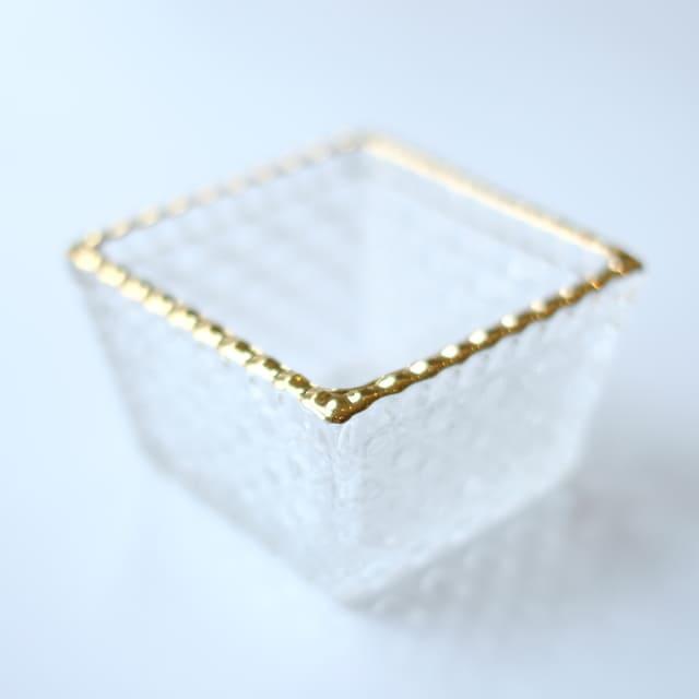籠目 ガラス角小鉢 金付