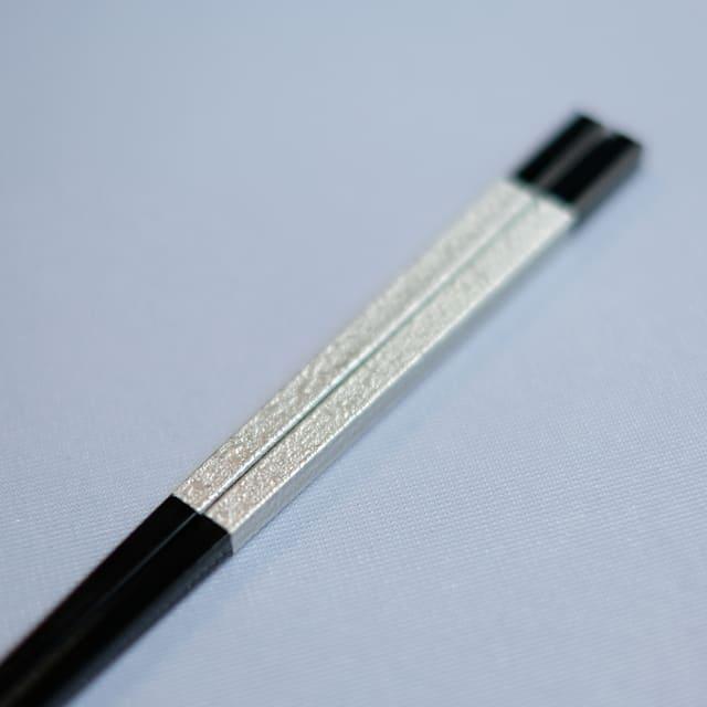 23.7cm  錐頭四角木目細身箸 銀盛り帯