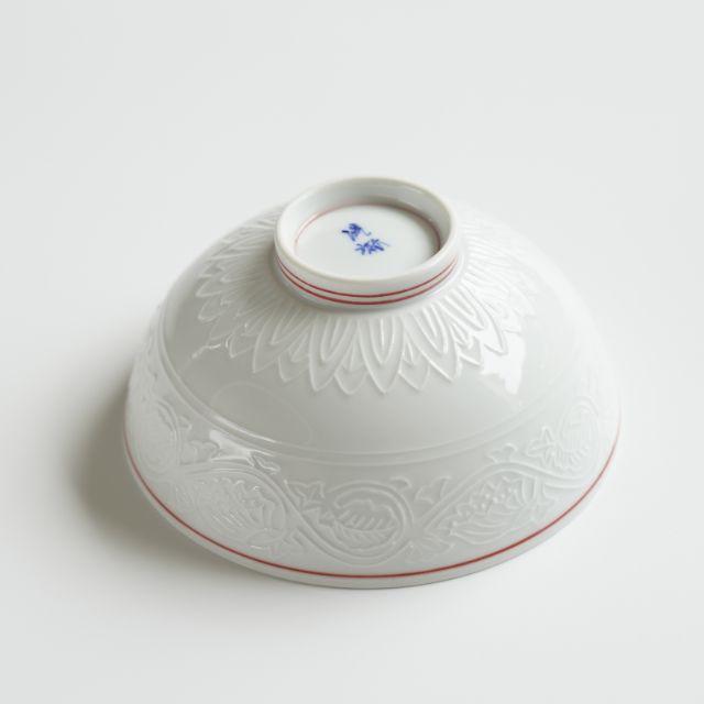 波佐見焼 藤絵唐草彫 飯碗小 (朱)