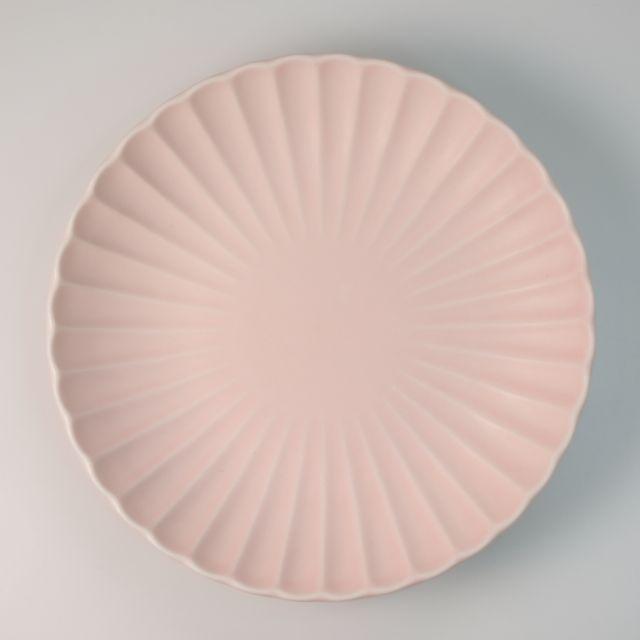 桜色 菊型 丸皿 18cm 桜色